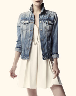 7 For All Mankind Studded Denim Jacket & Gabby Pleated Sleeveless Dress