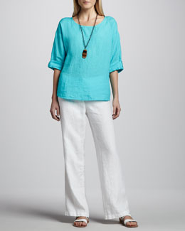 Eileen Fisher Rolled-Sleeve Linen Top & Heavy Linen Trousers