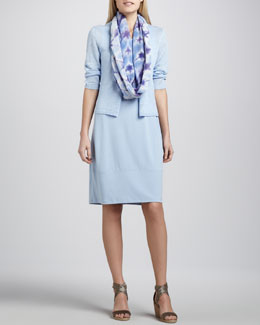 Eileen Fisher Jersey Knee-Length Oval Dress, Cropped Linen Cardigan & Shibori Garden Scarf, Women's