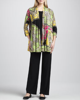 Caroline Rose Miami Print Long Cardigan, Knit Long Tunic/Tank & Straight-Leg Jersey Pants, Women's