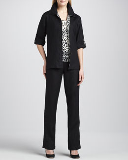Caroline Rose Linen Combo Shirt, Animal-Print Tank & Straight-Leg Pants
