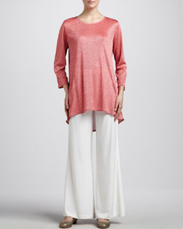 Caroline Rose Shimmer Knit Tunic & Stretch-Knit Wide-Leg Pants, Women's