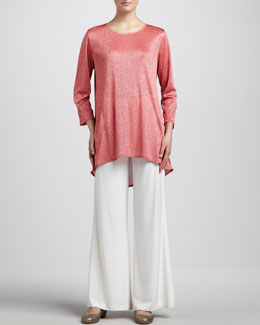 Caroline Rose Shimmer Knit Tunic & Stretch-Knit Wide-Leg Pants, Petite