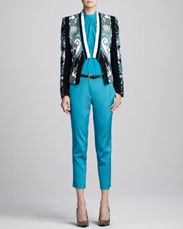 Etro Printed Jacket, Sleeveless Blouse & Cropped Pants