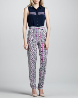 Nanette Lepore Athena Sheer-Top Blouse & Printed Tapered Pants