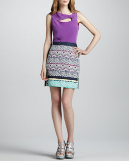Nanette Lepore Venus Knot-Detail Top & Tinos Printed Pencil Skirt
