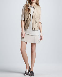 3.1 Phillip Lim Lambskin Biker Vest & Trompe l'Oeil Layered Dress