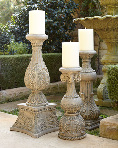 GG Collection Cast-Stone Outdoor Candlesticks