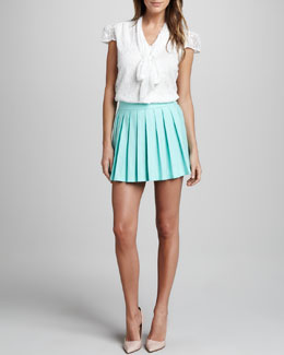 Alice + Olivia Arie Tie-Neck Lace Blouse & Leah Pleated Skirt