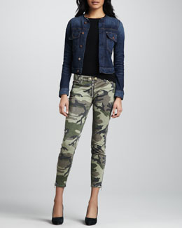TEXTILE Elizabeth and James Sid Collarless Denim Jacket and Cooper Camo Skinny Jeans