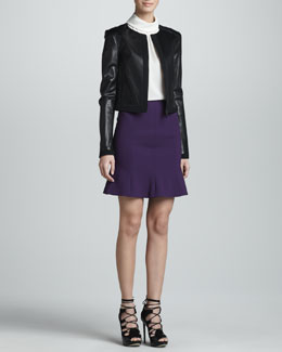 Jason Wu Zip-Front Leather Jacket, Roll-Neck Sleeveless Silk Shell & Flared Hem Crepe Skirt