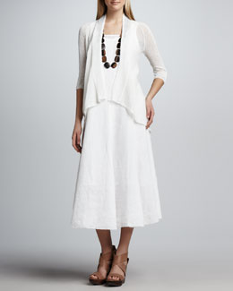 Eileen Fisher High-Low Flutter Cardigan & Handkerchief Linen Long Dress