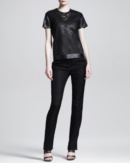 Reed Krakoff Lace & Leather T-Shirt and Slim Leather-Stripe Tuxedo Trousers