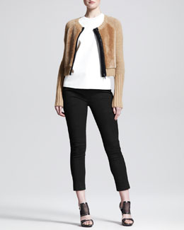 Reed Krakoff Shrunken Zip Shearling Fur Cardigan, Leather-Front T-Shirt & Cropped Skinny Pants