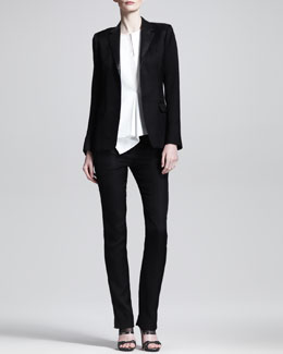 Reed Krakoff Leather-Collar Blazer, Slim Leather-Stripe Trousers & Asymmetric Slit-Neck Top