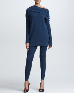 Donna Karan Off-the-Shoulder Cashmere Sweater & Jersey Leggings