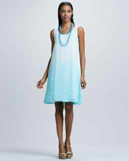 Eileen Fisher Ombre Layering Linen Dress & Bindu Silk Beaded Necklace