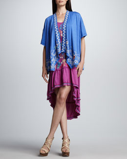 JWLA for Johnny Was Sally Poncho Cardigan & Hi-Low Flounce Dress