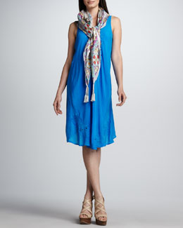 Johnny Was Collection Serenity Silk Scarf & Ravi Sleeveless Dress