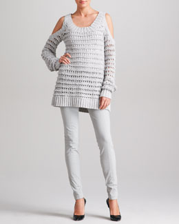 Donna Karan Cold-Shoulder Sweater & Seamed Leggings