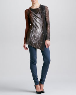 Donna Karan Printed Tunic & Seamed Leggings