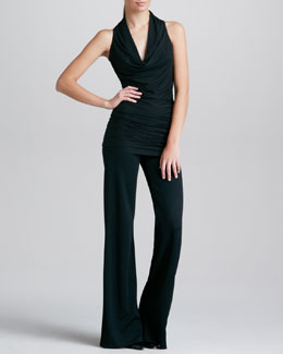 Donna Karan Draped Cowl-Neck Tunic & Fluid Crepe Trousers