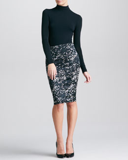 Donna Karan Long-Sleeve Turtleneck & Printed Tube Skirt