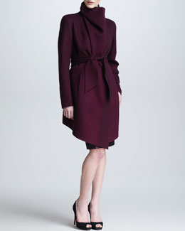 Donna Karan Cashmere Funnel Coat, Long-Sleeve Slash Top & Fold-Over Pull-On Sequin Skirt