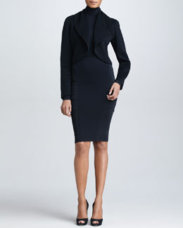 Donna Karan Shawl Collar Cashmere Cropped Jacket, Long-Sleeve Turtleneck & Crossover-Panel Pencil Skirt