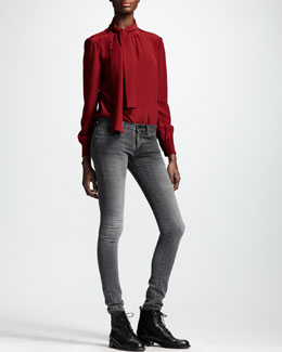 Saint Laurent Asymmetric Button Ascot-Neck Blouse & Skinny Low-Waist Jeans