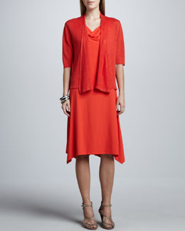 Eileen Fisher Cowl-Neck Jersey Dress & Cropped Lightweight Linen Cardigan