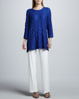 Caroline Rose Lace Knit Long Tunic & Straight-Leg Pants
