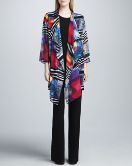 Caroline Rose Sunrise Printed Long Jacket, Long Stretch Tank & Stretch-Knit Slim Pants