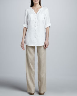 Go Silk Linen Button-Front Tunic & Straight-Leg Pants, Women's