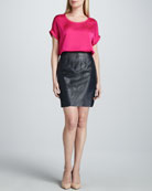 Ilana Charmeuse Blouse & Aurora Leather Perforated-Center Skirt