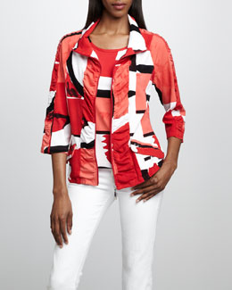 Berek Graphic-Print Jacket & Shell, Petite