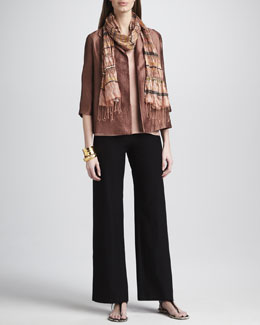 Eileen Fisher Jacquard Open Jacket, Shell, Striped Crinkled Scarf & Washable-Crepe Wide-Leg Pants, Women's
