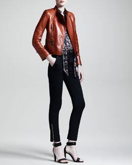 Belstaff Sidney Motorcycle Jacket, Harlow Camo-Print Silk Blouse & Filton Skinny Stretch-Cotton Motorcycle Pants