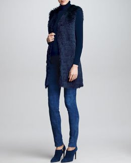 Ralph Lauren Collection Long Shearling Fur Vest, Cashmere Long-Sleeve Turtleneck & Stretch Suede Leggings