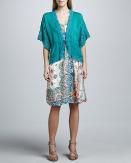 Johnny Was Collection Reed Dolman Jacket & Paisley Patchwork Silk Dress