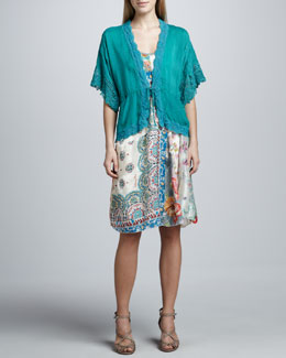 Johnny Was Collection Reed Dolman Jacket & Paisley Patchwork Silk Dress, Women's