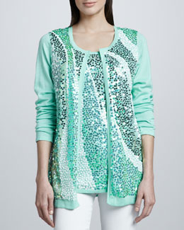 Berek Wavy Sequined Cardigan & Shell, Petite