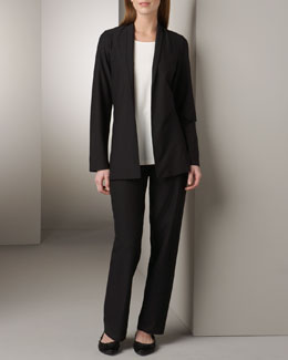 Eileen Fisher Crepe Shawl-Collar Jacket, Stretch Tunic & Stretch-Crepe Pants, Women's