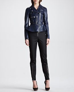 McQ Alexander McQueen Peplum Leather Moto Jacket & Exposed Zip Crepe Pants