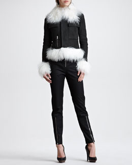 McQ Alexander McQueen Shearling-Trim Moto Jacket & Exposed Zip Crepe Pants