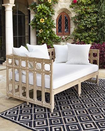 Faux-Bamboo Outdoor Sofa & Cushion Set