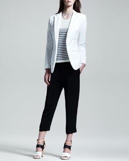 Rag & Bone 42nd Street Mesh-Back Blazer, Giselle Perforated Striped Tank & Cropped Beach Pants