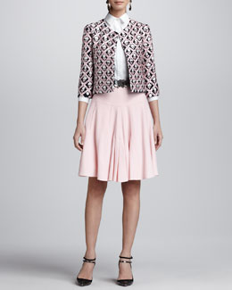 Oscar de la Renta Floral Jewel-Neck Jacket, Button-Up Collared Shirt & Front-Pleated A-Line Skirt