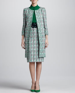 Oscar de la Renta Overwoven Embroidered Houndstooth Coat, Skirt & Jewel-Neck Silk Blouse