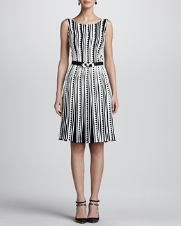 Oscar de la Renta Embroidered Zigzag Dress & Geometric-Buckle Silk Faille Belt